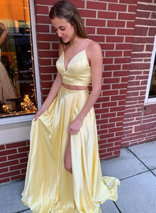 Yellow satin long prom dress two pieces evening dress