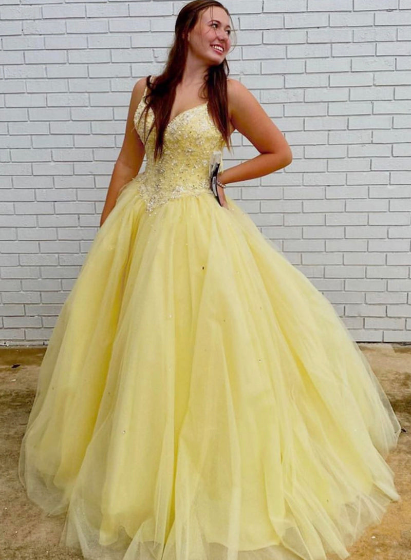 Yellow tulle beads long ball gown dress formal dress