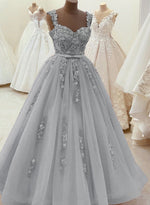 Elegant A line lace pearl long ball gown dress