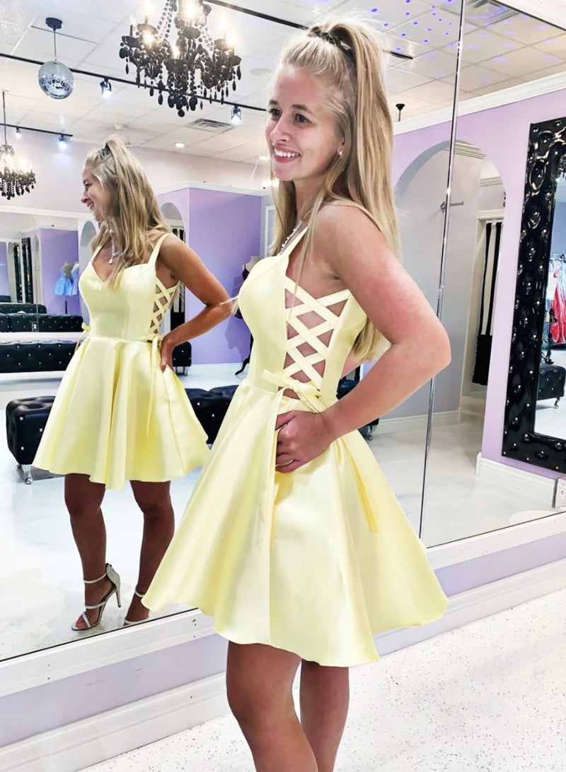 Yellow satin short prom dress homecoming dress