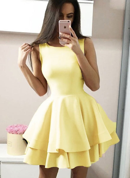 Yellow short prom dress, yellow evening dress