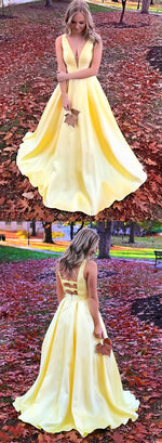 Simple yellow v neck satin long prom dress, yellow evening dress