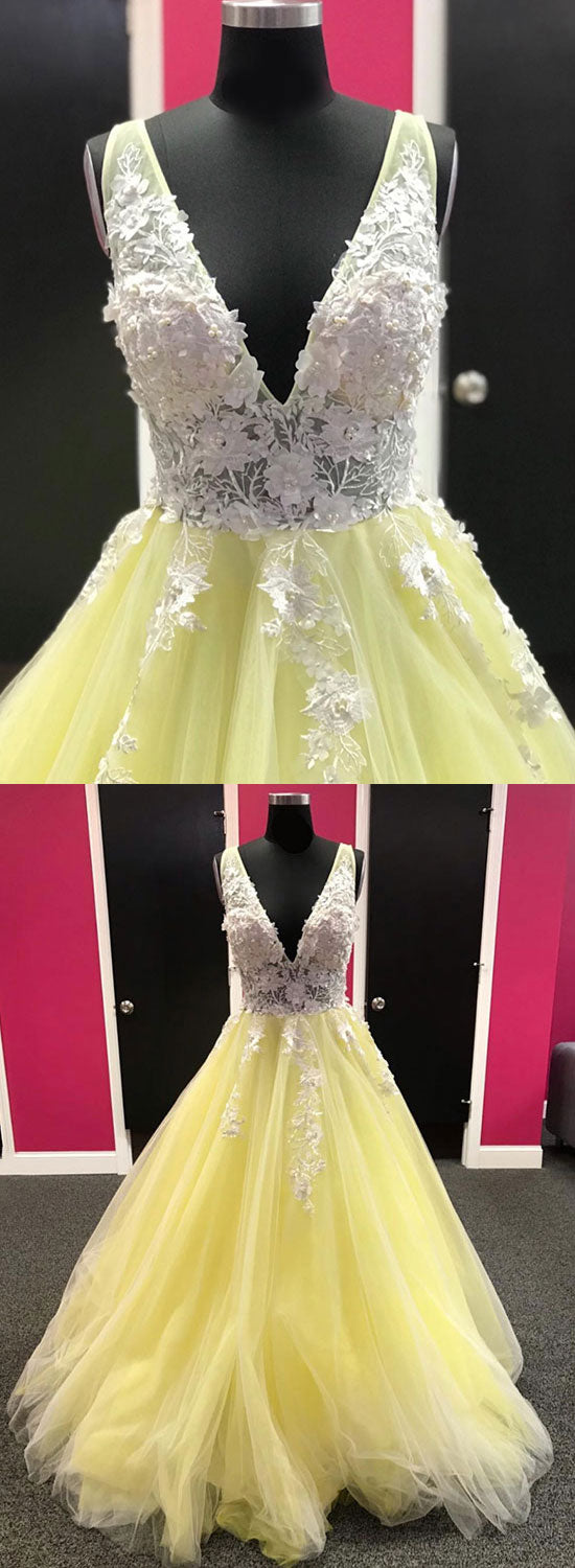 Yellow v neck tulle lace long prom dress, evening dress