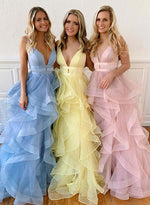 Yellow v neck tulle long prom dress, formal dress