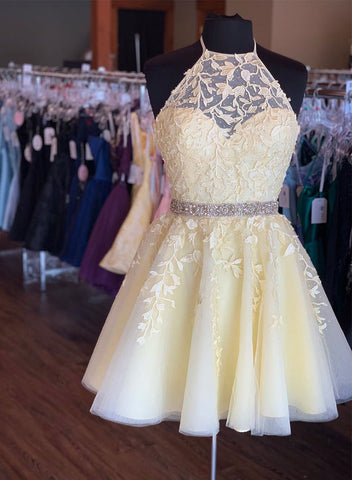 Yellow tulle lace short prom dress, homecoming dress