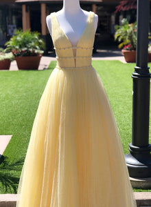 Yellow v neck tulle long prom dress, yellow evening dress