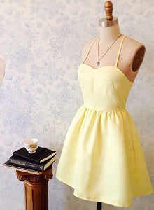 Mini A line yellow prom dress, homecoming dress
