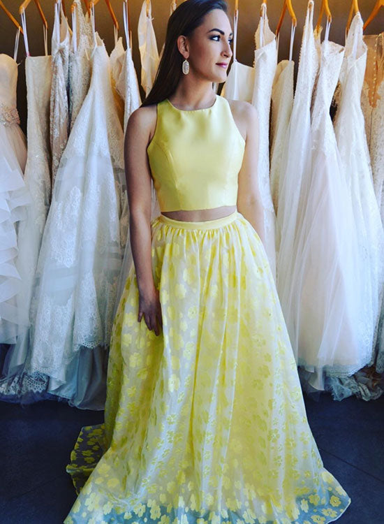 Yellow two pieces lace long prom dress, yellow evening dress