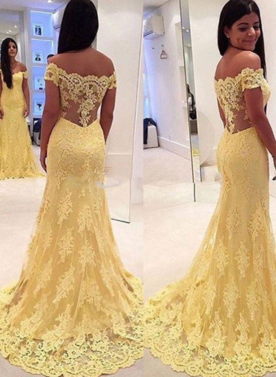 Beautiful yellow lace long prom dress, lace evening dress