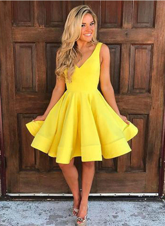 Simple yellow v neck short prom dress, yellow homecoming dress