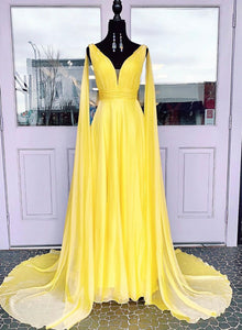 Yellow v neck chiffon prom dress evening dress