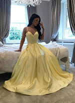 Yellow satin long prom dress yellow evening dress