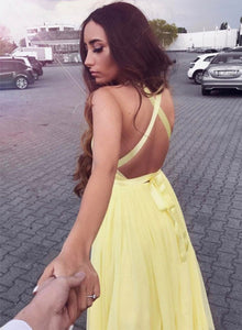 Charming yellow tulle v neck prom dress, yellow evening dress