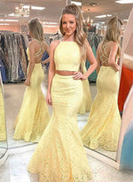 Yellow lace long prom dress, mermaid two pieces evening dress