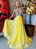 Yellow v neck beads long prom dress, evening dress