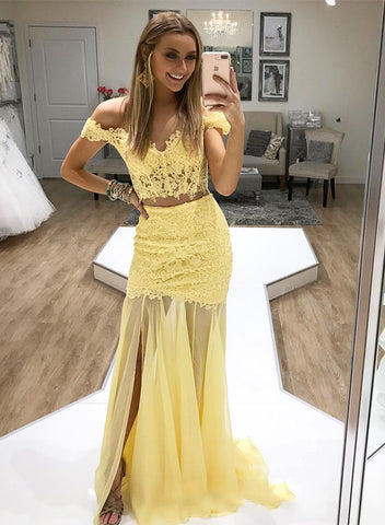 Yellow lace two pieces long prom dress, evening dress