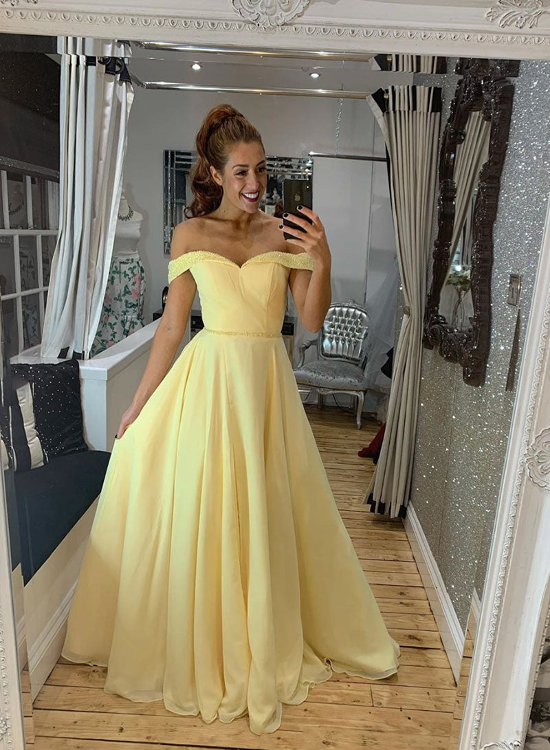 Yellow chiffon long prom dress yellow evening dress