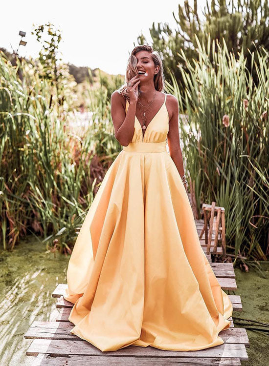 Yellow v neck satin long prom dress, yellow evening dress