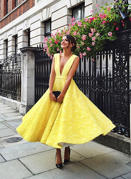 Yellow v neck tea length prom dress, evening dress