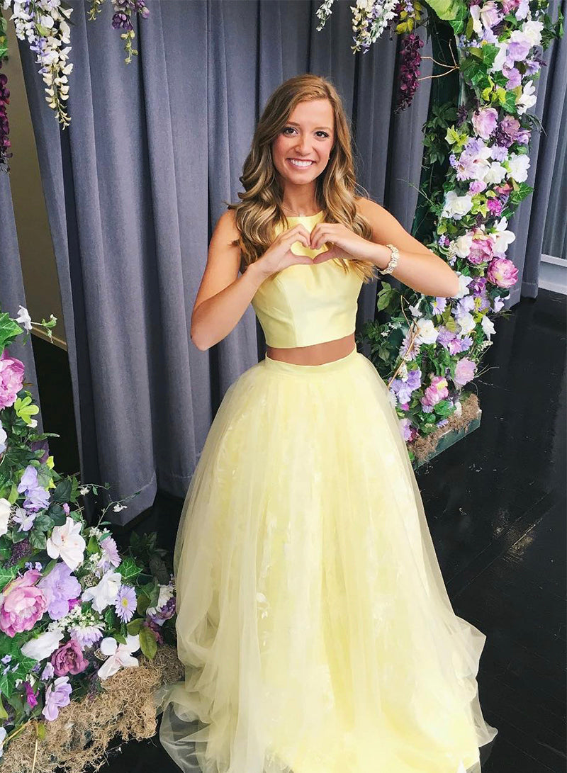 Yellow tulle long prom dress yellow evening dress