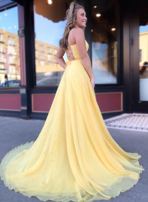 Simple yellow long prom dress, yellow evening dress