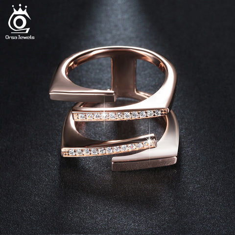 Rose Gold Color & Silver Color Unique Geometric Design Ring Paved - SoCoDeals