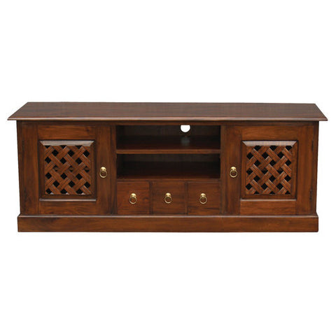 Mary Carved TV Console  160cm Entertainment Unit in Mahogany or Chocolate RMY238SB 203 CV