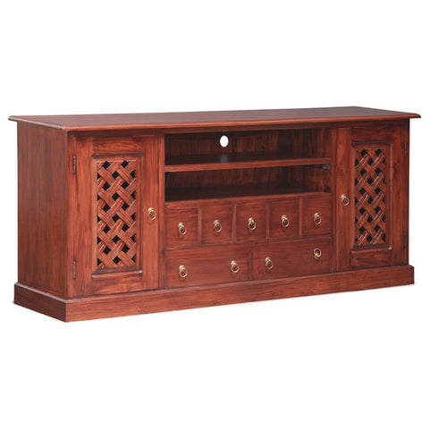 Mary Carved TV Console 190cm Entertainment Unit in Mahogany or Chocolate Color RMY238SB 207 CV