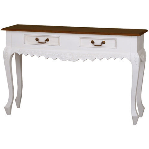 Mary French White Console Table Carved 2 Drawer Sofa Table RMY238