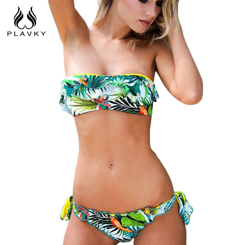2017 Female Sexy Halter Push Up Thong Bandeau Biquini Ruffled Swimsuit String Swim Wear Beach Bathing Suit Swimwear Women Bikini