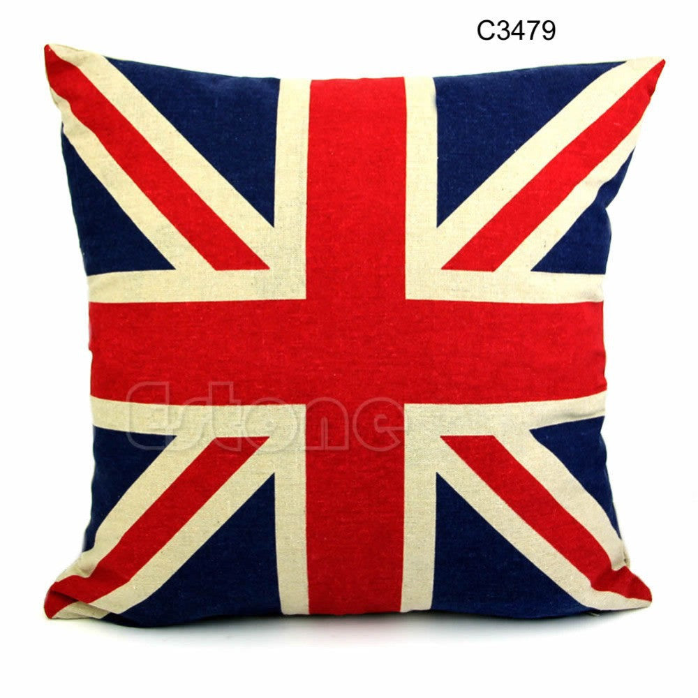 "Free Shipping Square 16"" Linen  Union Jack US Flag Pillow Cases Cushion"