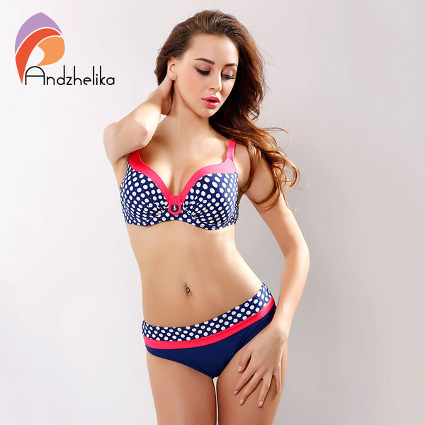 [Andzhelika ] 2017 New Swimsuit Bikini Sexy Polka Dot Large Cup Bar small Bottom Bathing Suit Push Up Swimwear LD516
