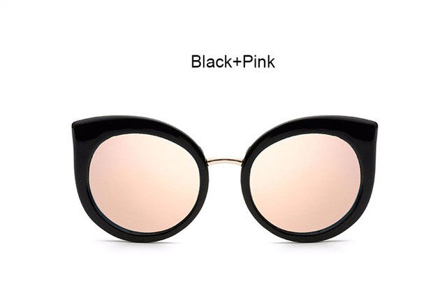 Classic Vintage Cat Eye Rose Gold Mirror Women Stylish Sunglasses Fashion Brand Designer Retro Sun Glasses Lady