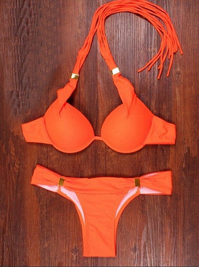 Summer Solid Blue Orange Bandeau Bikini Set Sexy Push Up Beachwear Women Swimsuit Swimwear String Halter Biquini Maillot de bain