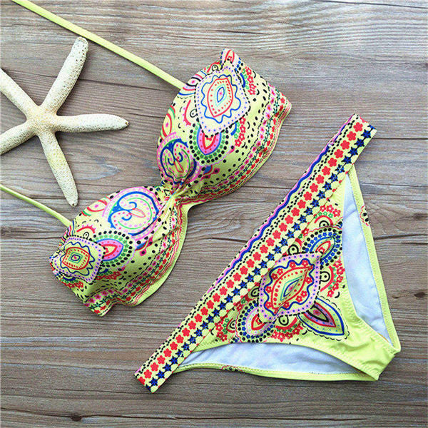 Printed Bikini Bandeau Push Up Swimwear Women Strapless Underwire Swimsuit Trikini Female Sexy Beach Wear