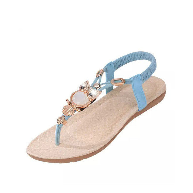 Hot Sale 2017 New Fashion Women Sandals Beaded Ladies Flip Flops Bohemia Woman Shoes Comfort Beach Summer Flat Sandals BT143