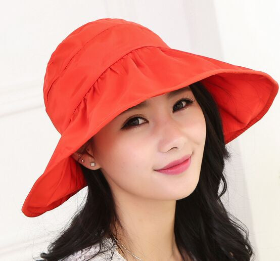 2017 Summer Women's Wide Brim Beach Sun Hat Fashion Chapeu Feminino Foldable Visor Cap Outdoor Anti-UV Cap