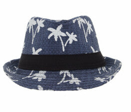 Summer Straw Hats For Adult Child Panama Hat Coconut Tree Jazz Caps Casual Beach Visor Hat Parent-child Cap