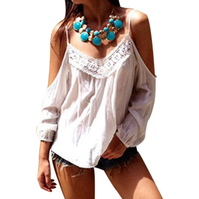 Summer Autumn 2017 New Sexy Women Off Shoulder Blouse Tops Lace Patchwork Long Sleeve Chiffon Loose Blusas Shirt Plus Size