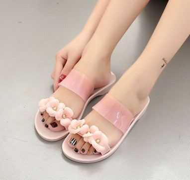 Women cute transparent crystal jelly sandals shoes cool pink lady beach flip flops female flower casual street slippers