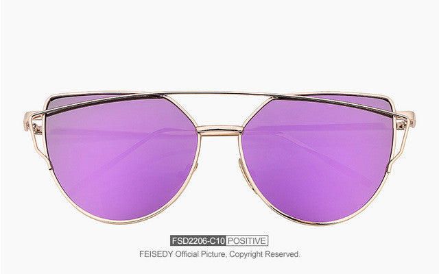 FEISEDY Fashion Vintage Mirror Sunglasses Women Metal Reflective Cat Eye Sun Glasses For Women Brand Design