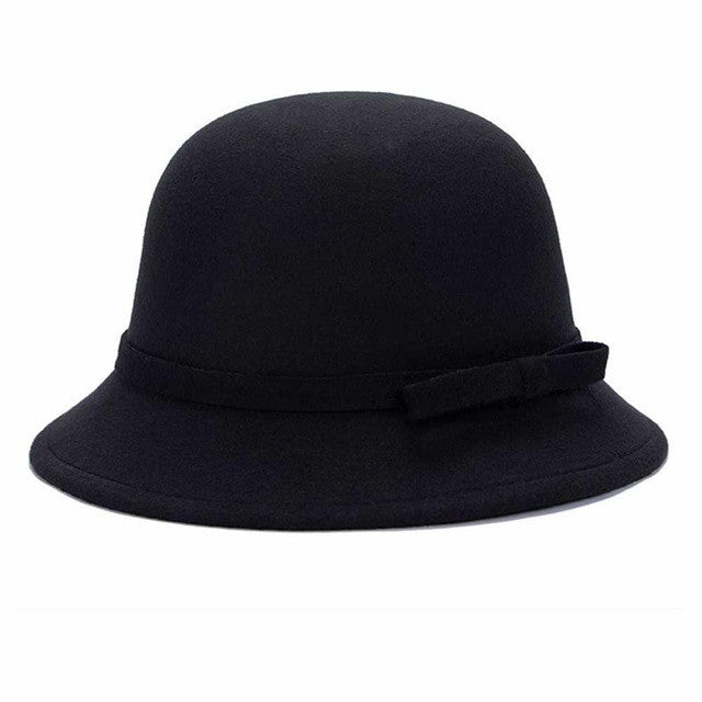 Fashion Solid Women fedora hat Vintage Wool Bow knot Winter Warm Caps Casual Elegant Ladies Party Beach Sun hat chapeau femme Y2