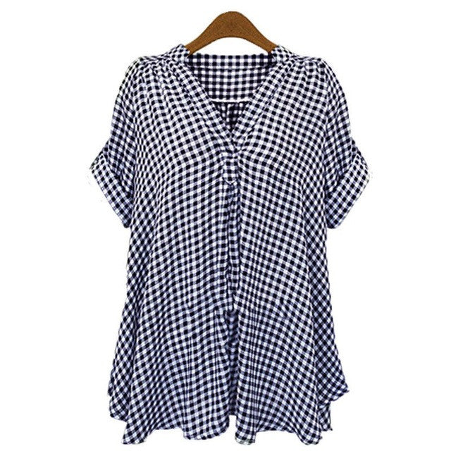 2017 Summer Women Top Blusas Plaid Check 3/4 Sleeve Casual V-neck Tops Blouse Loose Shirt Blusas Plus Size S-5XL