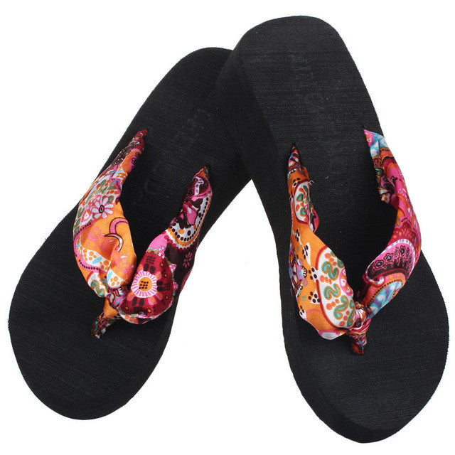 Shoes Woman Flip Flops Sandals Foam Zapatos Mujer Sweet Ladies Shoe Summer Wedge Heel Bohemia Beach Flip-flop Casual Sapatos NEW