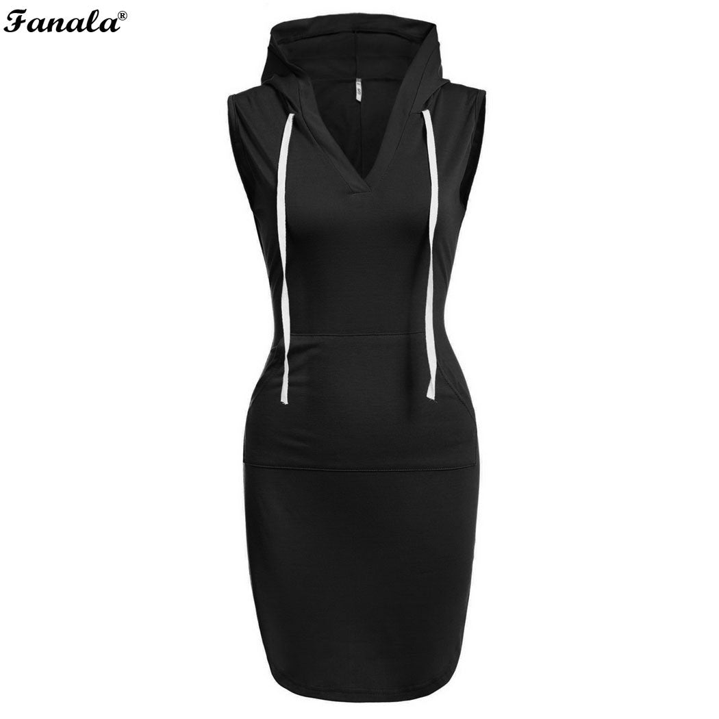 FANALA 2017 Women Sweatshirt Hooded Dress Vestidos Hoodies Casual Dresses Sleeveless V neck Slim Mini Solid Casual Dress #30-20