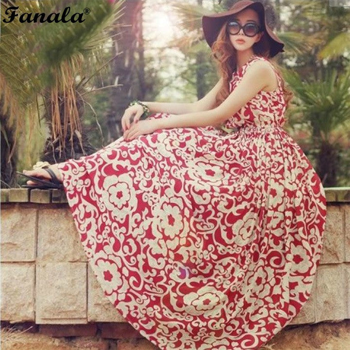 2017 Summer Women Long Dress Evening Party Chiffon Beach Dresses Ladies Boho Long Maxi Red Dark Dress m22