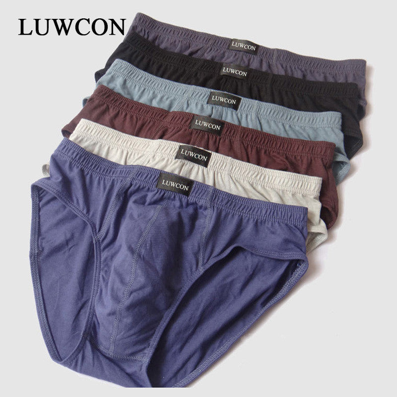 LUWCON New arrival Solid Briefs Factory Direct Sale 4pcs/Lot Mens Brief Cotton Mens Bikini Underwear Pant For Men Sexy Underwear