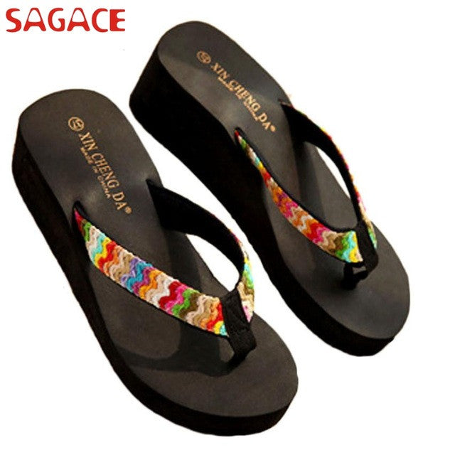 Summer Platform Sandals Beach Flat Wedge Patch Flip Flops Lady Slippers san 20 ga2