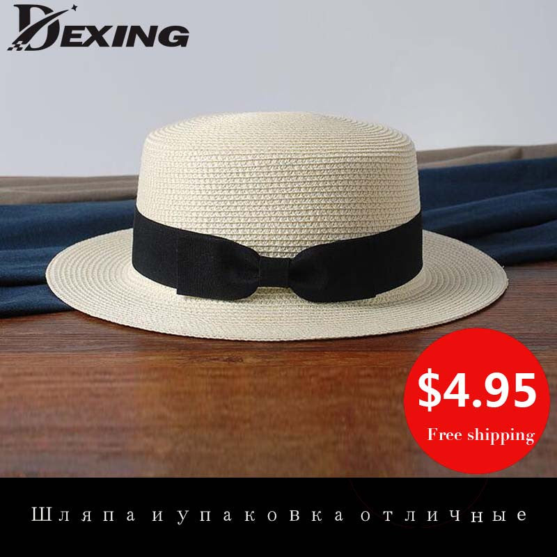 [Dexing] 100% good queality Flat Sun Hat Women's bow Straw summer  Hats For Women Beach hat 12 Colors chapeau femme boater  Gift
