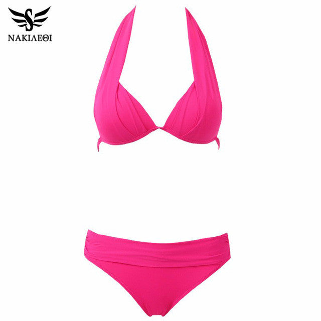 NAKIAEOI 2017 New Sexy Bikinis Women Swimsuit Push Up Swimwear Plus Size Brazilian Bikini Set Halter Retro Beach Bathing Suits